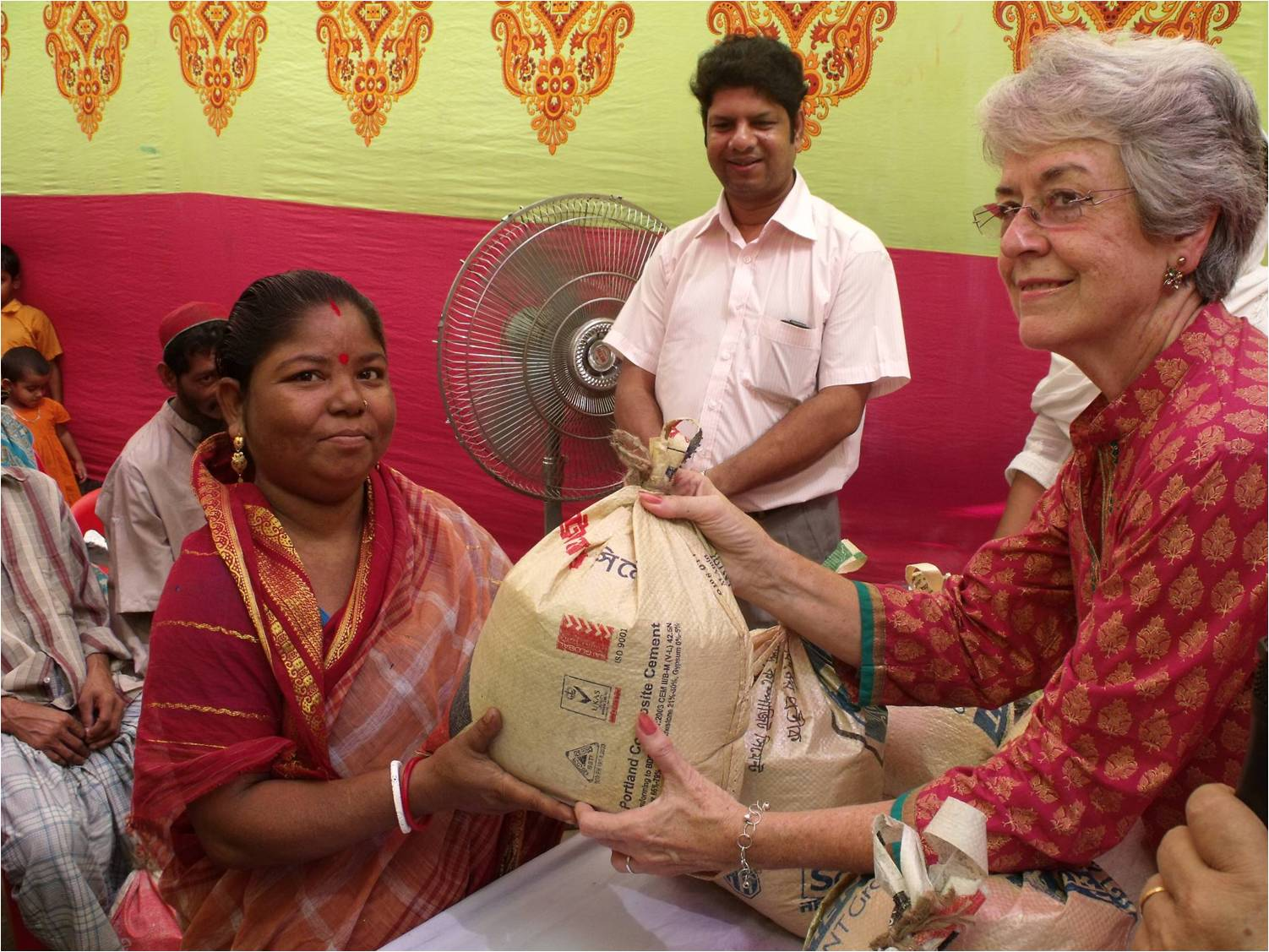 Giving out rice and dal